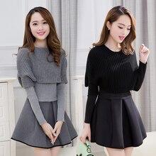 2019 Mùa Xuân và mùa đông mới Phụ Nữ Hàn Quốc phiên bản của trồng dài tay hai mảnh váy phù hợp với thời trang A Line ăn mặc