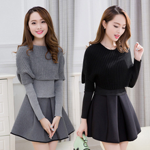 2019 Spring and winter new Women Korean version of cultivating long sleeved two piece dress suit fashion A line dress