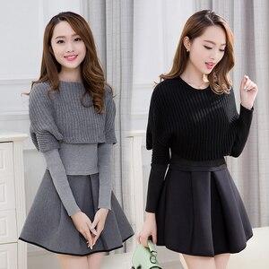Image 1 - Primavera e invierno 2019 nueva versión Coreana de Mujeres de cultivar vestido de dos piezas de manga larga traje de moda A line vestido