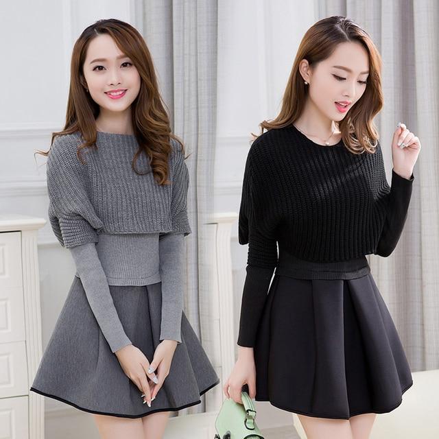 Primavera e invierno 2019 nueva versión Coreana de Mujeres de cultivar vestido de dos piezas de manga larga traje de moda A line vestido