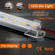 U Aluminium Profile smd 5630 LED bar light 1m 72leds 12V with milky/clear pc covcer led hard strip light for closet kitchen