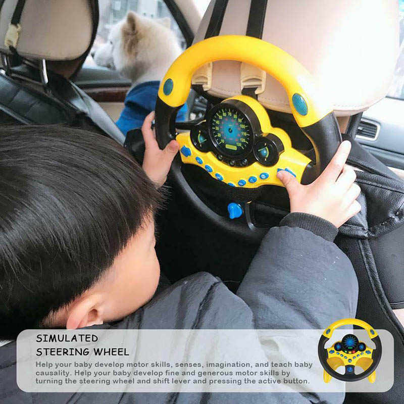 Kids Copilot Simulated Steering Wheel Racing Driver Toy Educational Sounding Toys S7JN