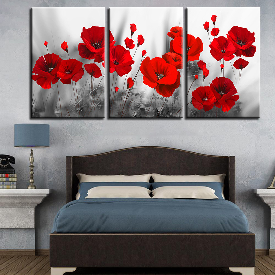 Flowers Pictures Poster Canvas Paintings Poppies Wall-Art Living-Room Prints 3pieces