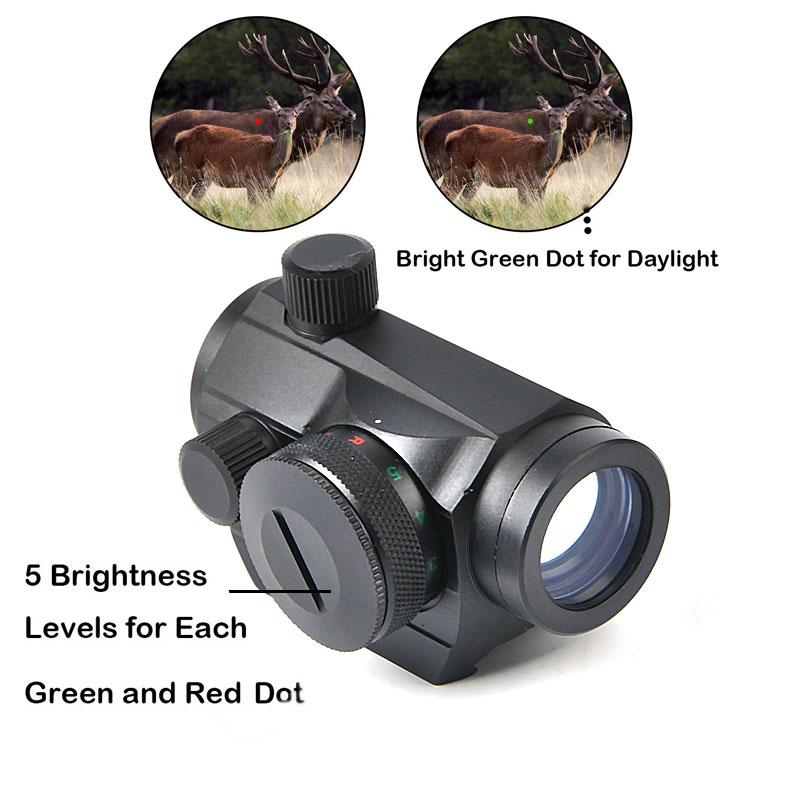 Hunting Optics Riflescope Tactical Mini 1X24 Red Green Dot Sight 5 Models Brightness Adjustment  Rifle Scope Reflex Lens