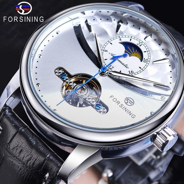 Forsining Automatische Self Wind Mannen Jurk Horloge Zon Moon Phase Tourbillon Waterdichte Mannelijke Lederen Pols Horloges Relogio Masculino