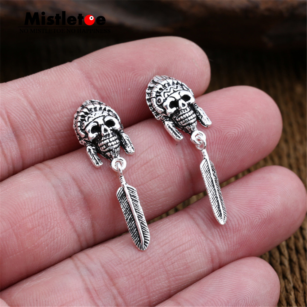 2018 New Fashion 925 Sterling Silver Ear Studs Long Vintage Feather ...