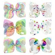 Children Hair Accessories JOJO hair bows 6 Inch Gradient Stamping Bronzing Unicorn Bow Child Hairpin