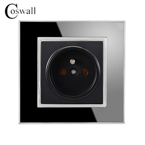 Coswall 16A French Standard Socket Luxury Wall Power Outlet Acrylic Crystal Panel Electrical Plug Black A1 Series AC 110~250V
