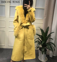 Long Parka Women Winter Jacket Detachable Warm Natural Fox Fur Liner Coats Real Wool Overcoat With Hood