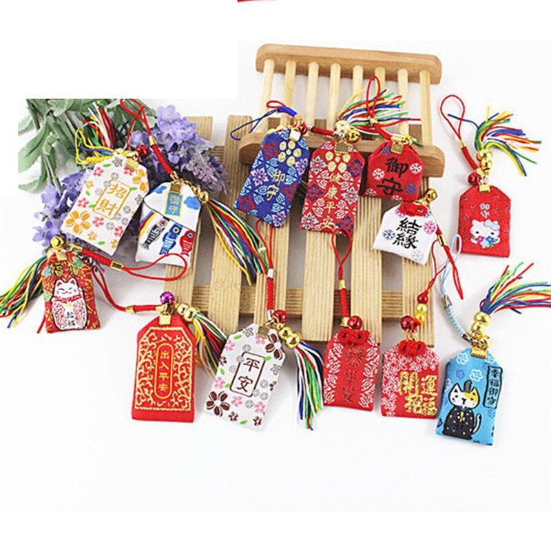 1pcs Traditional Omamori The Maneki Neko Lucky Doll Fortune Safe Transport Key Holder Bag Pendant Cute Gift Present