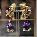 Derongems_fine Jewelry_Luxury природный аметист ну вечеринку Earrings_S925 твердые люксовый бренд Earrings_Factory непосредственно продаж