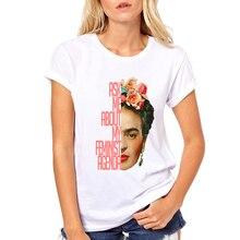 Hot Sale Cartoon Mexican Frida Kahlo T Shirt Short Sleeve Women T-shirt Novelty Tee Frida Kahlo Printed Casual Shirts