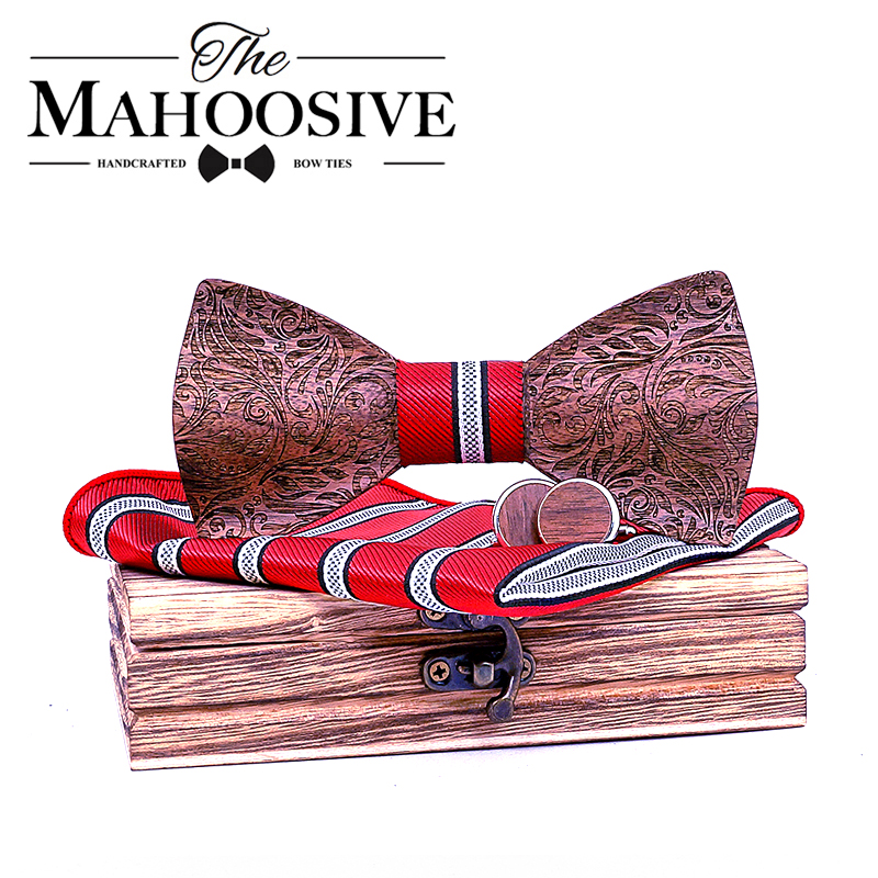 3D Floral Wooden Bow Ties For Men Wood Tie Wood Elegant Gentleman Bow Ties Handmade Butterfly Wedding Party