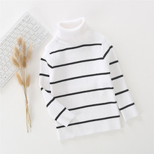 Children's sweater for boys Children's clothing Winter new Keep warm Kids sweater Turtle collar and 100% cotton striped sweater