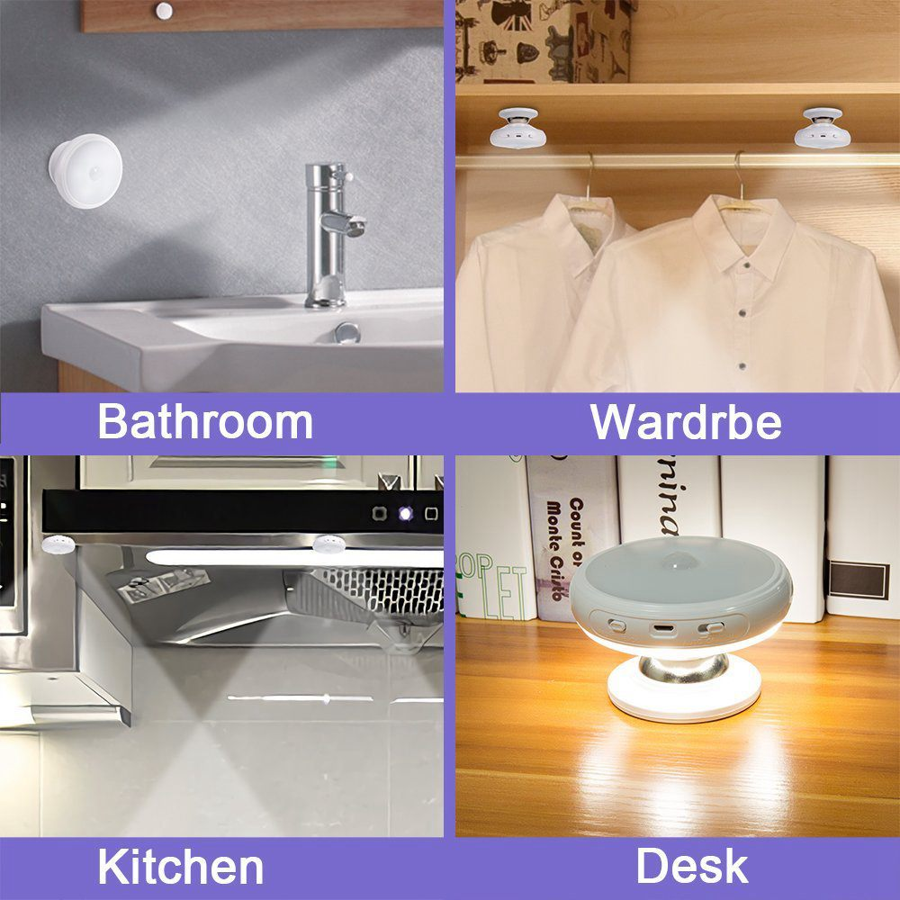 Motion Sensor Night Light, Detachable Magnet Base, USB Rechargeable LED, Human Body Induction 360 Degree Rotation Night Light