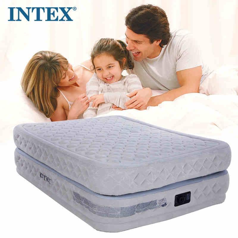 INTEX NOUVELLE de luxe double matelas gonflable lit double air épais tapis intégré électrique pompe 64464