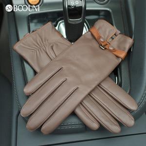 Image 4 - BOOUNI hakiki deri eldiven moda trendi kadın koyun derisi eldiven termal kış artı kadife deri sürücü eldivenleri NW745