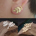 Hot 1 Pair Women Fashion New Charming Gold Plated Leaf Design Stud Earrings Jewelry 2 Colors
