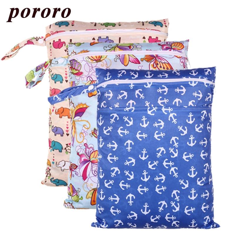 Pororo Double Pocket Wet Bag 30*40cm Waterproof Diaper Bag Print Reusable Zippered Baby Diapers Bamboo Charcoal Wet Bag