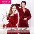 Amantes outono e inverno espessamento flanela robe feminino masculino coral fleece sleepwear bathoses salão de manga comprida
