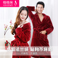 Autumn and winter thickening flannel lovers robe female male long design coral fleece sleepwear long-sleeve bathoses lounge