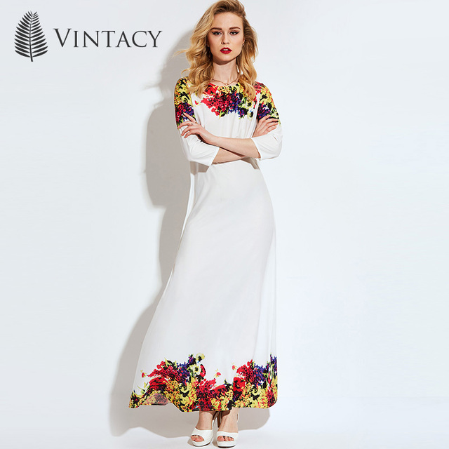 fdeefc4dfe5ef4 Vintacy Women Long Dress Plus Size White Print Floral Maxi Dress Summer  Office Lady Elegant Fashion See-Through Loose Long Dress