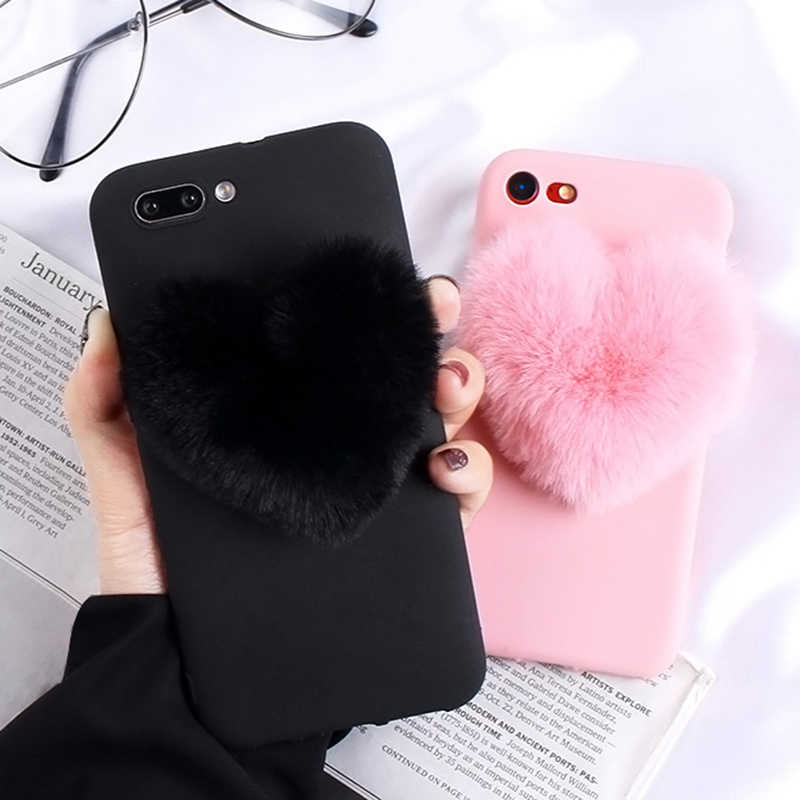Fur Love Heart Phone Case For Huawei P30 P20 P10 P9 Pro Lite Soft Cover For P Smart 2019 Mate 20 P9 Lite Mini Psmart Plus Capa