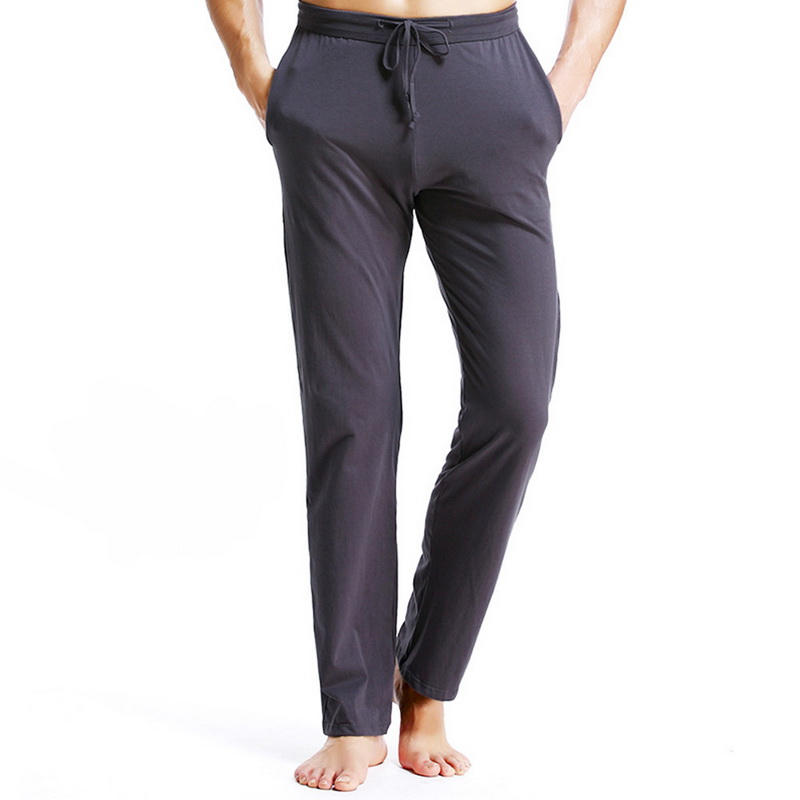 Pajama-Pants Sleepwear Drawstring Sport Thin Waist Cotton Solid Gym Slim Hombre Breathable