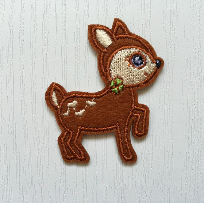 Embroidery Cartoon Sika Deer Sew Iron On Patch Badge Fabric Applique DIY
