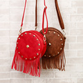 New Fashion Women Circle Messenger Bag Tassel PU Leather Small Bag American Style Mini Cute Ladies Crossbody Round Bags 815