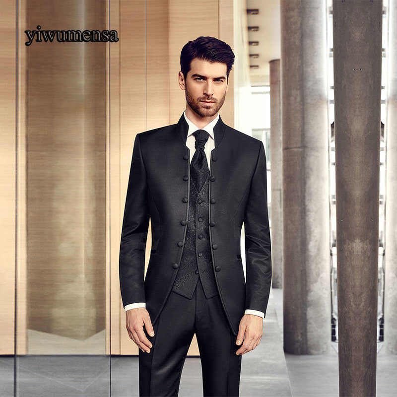 Y508ファッション男性スーツスタンド襟結婚式新郎メンズスーツスリムフィット花婿タキシード用男性スーツ黒カスタムサイズ2018