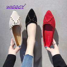 Pointed Toe flat women shoes 2019 Spring Autumn shoes women Fashion Students Shallow Rivet Slip-On Office ladies shoes female ladies stud women slip on 2017 pointed toe brand red shallow designer suede flats beautiful shoes latest spring autumn fashion