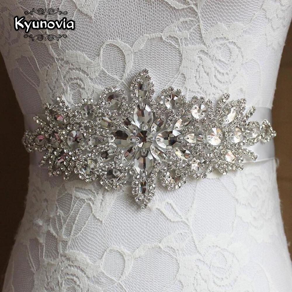 Kyunovia Crystal Wedding Accessories Satin Wedding Dress Belt Bridal Ribbon Waistband Sash Belt For Evening Prom Dresses FB20