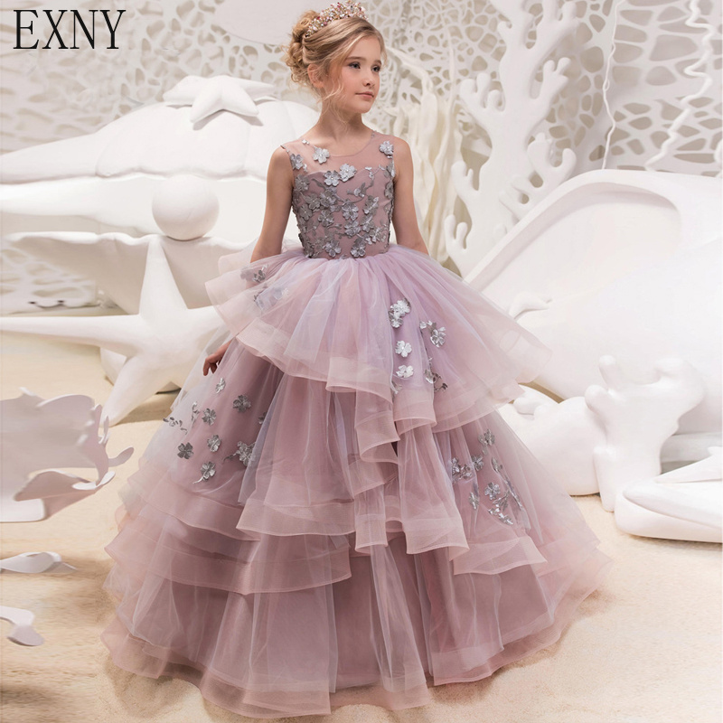 EXNY Ball Gown Ball Gown   Flower     girl     Dresses   Lace Appliques Floor length Layers   Girls   pageant First Communion   Dress