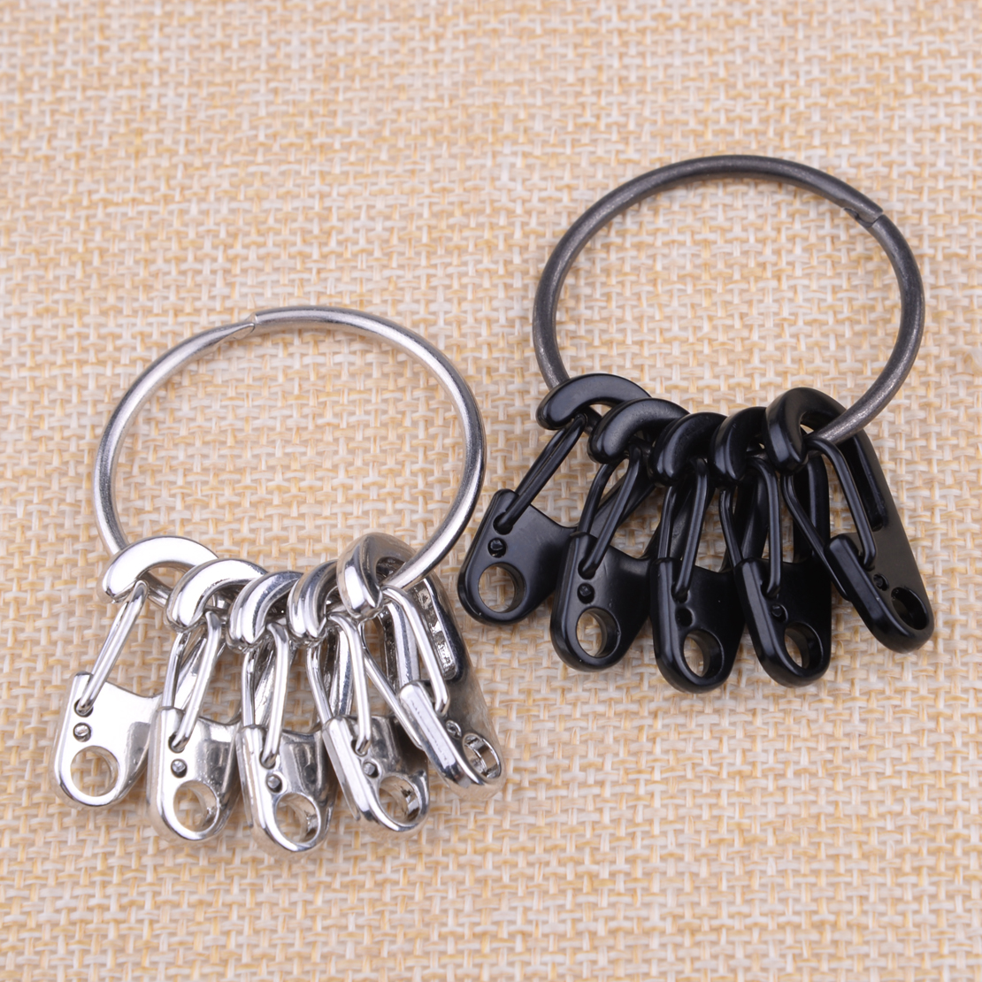 LETAOSK 5pcs Carabiner Mini D-Ring Clip Hook Buckle & 1 Ring Key Chain Outdoor Camping Stainless Steel Black/Silver