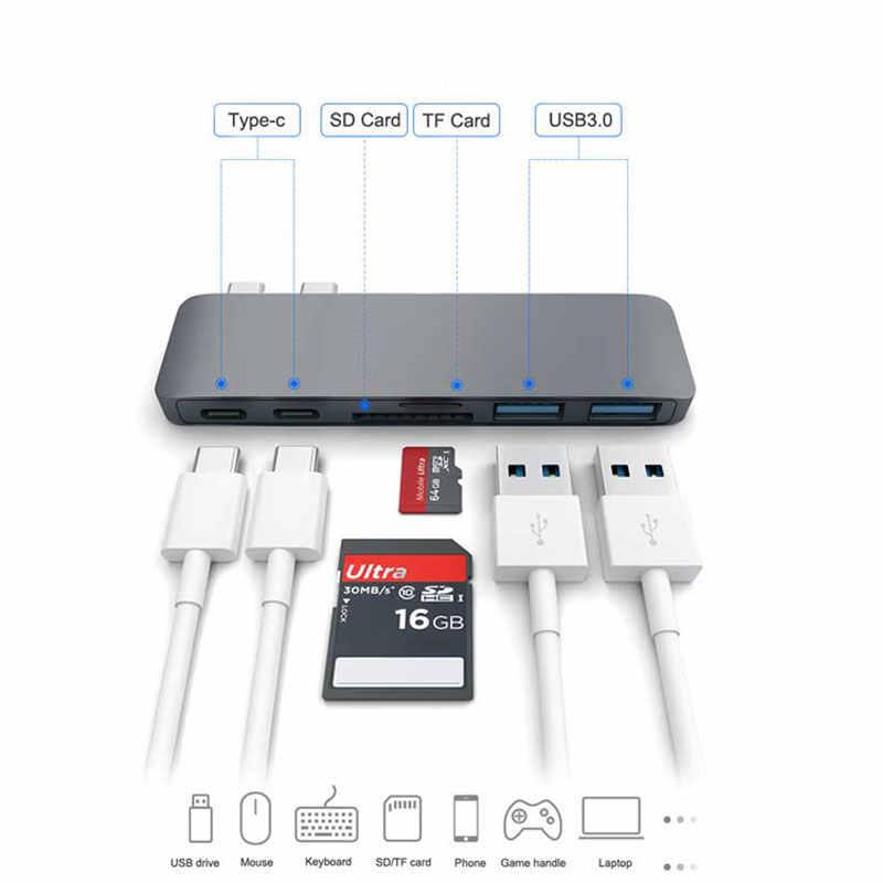 Mosible USB C Thunderbolt 3 adaptador Dual Dock USB tipo C con lector de tarjetas TF SD ranura de Hub 3,0 para MacBook Pro aire/2019