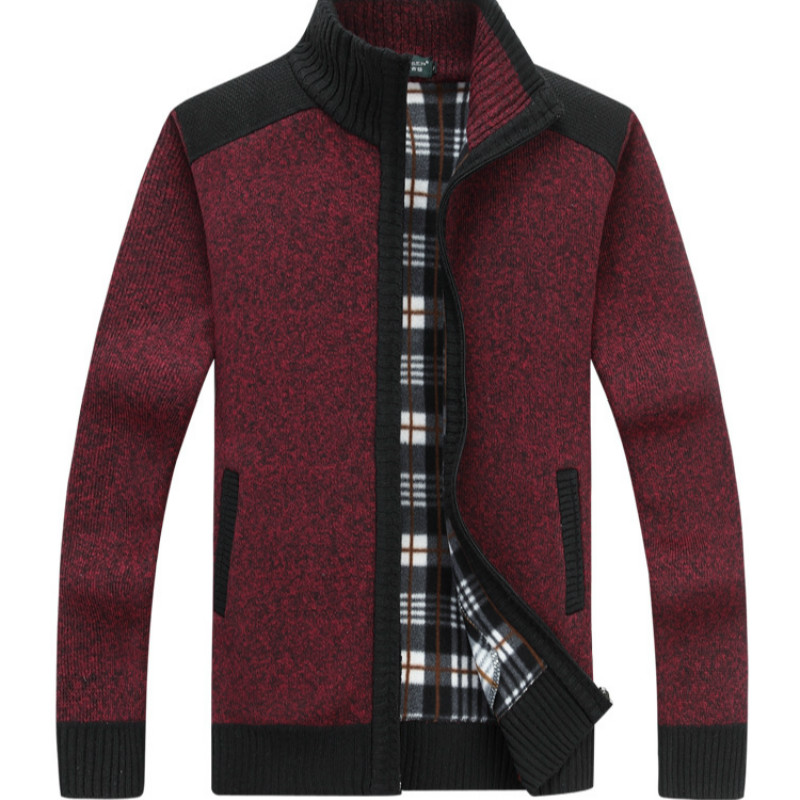 Sweater Autumn/winter 2019 New Men's Cardigan With Fleece And Thickened Cardigan Collar Loose Warm Sweater Coat