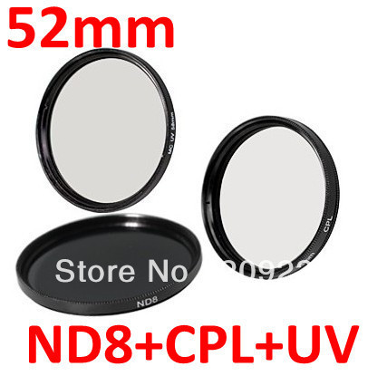 Free shipping 52mm 52mm UV+ND8+CPL Filter 3 Filter Kit NEW