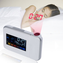 Projection Digital Weather Station LCD Snooze Alarm Clock with Date Temperature Humidity Wake Up Projector Clock Desk Clock