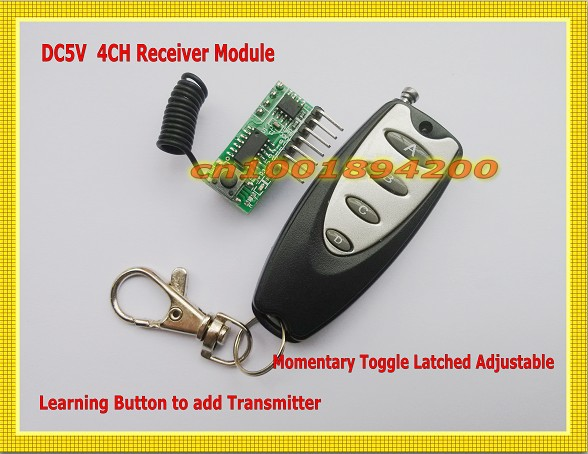 DC5V 4CH RF Receiver Module with Transmitter Encoding Receiver Module 4CH TTL Output Learning Code Momentary Toggle Latched Mini dc3 5v rolling code receiver module transmitter rf wireless remote control 4ch output ttl momentary toggle latched hc301 ic