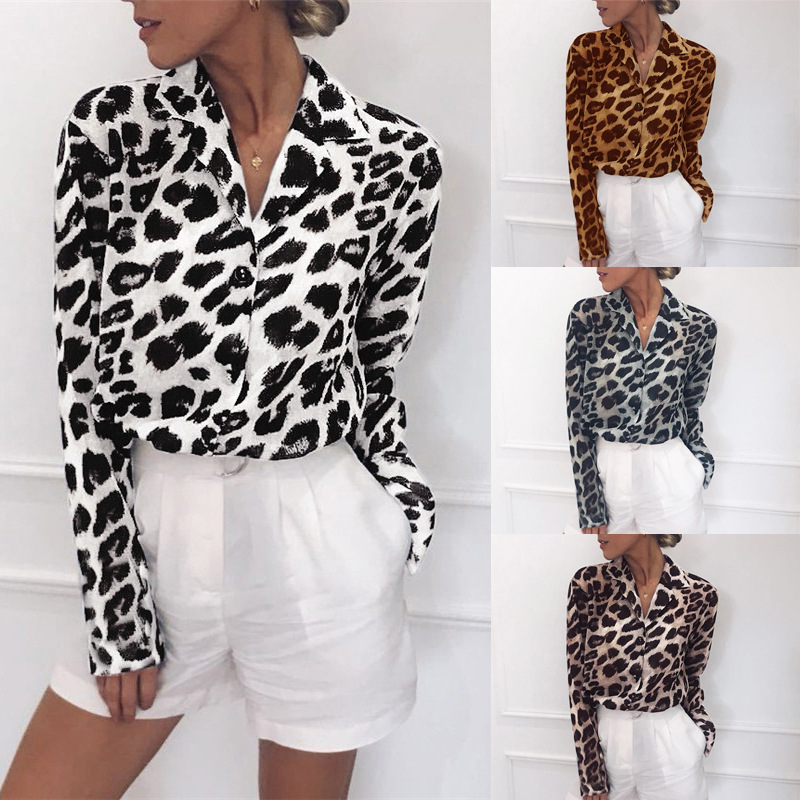 Long Sleeve Chiffon Blouse Women Leopard Print Blouses Turn Down Collar Office Shirts Casual Loose Tops Plus Size Tunic Blusas