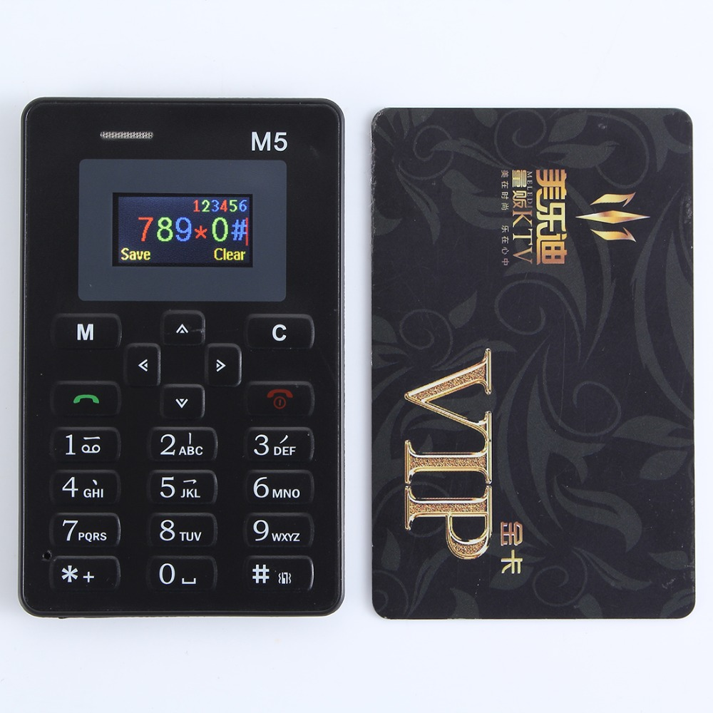 AEKU M5 Color Screen With English Russian Keyboard Cell pone Ultra Thin Mobile Phone Mini Phone