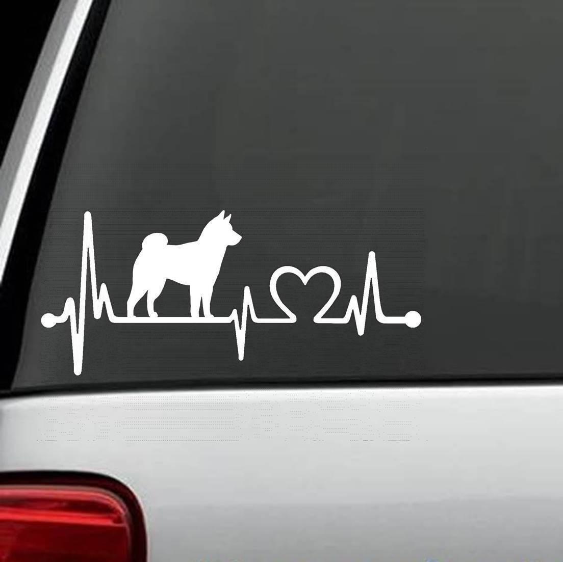 Shiba Inu Heartbeat Lifeline Dog Decal Sticker Window Laptop Art 15cm