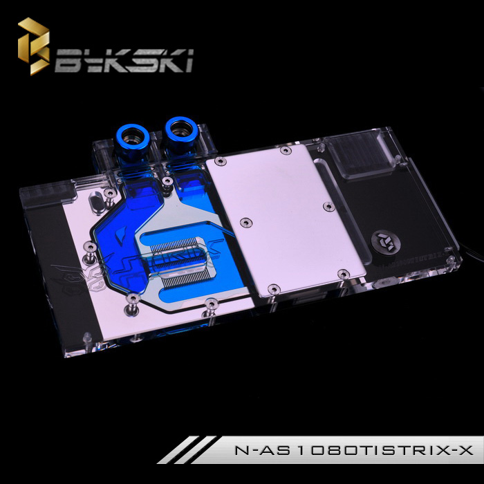 Bykski Full Cover Graphics Card Water Cooling Block Use for ASUS ROG STRIX GTX1080TI 1080 1070 Cooler System with RGB Light 2pcs gpu rx470 gtx1080ti vga cooler fans rog poseidon gtx1080ti graphics card fan for asus rog strix rx 470 video cards cooling