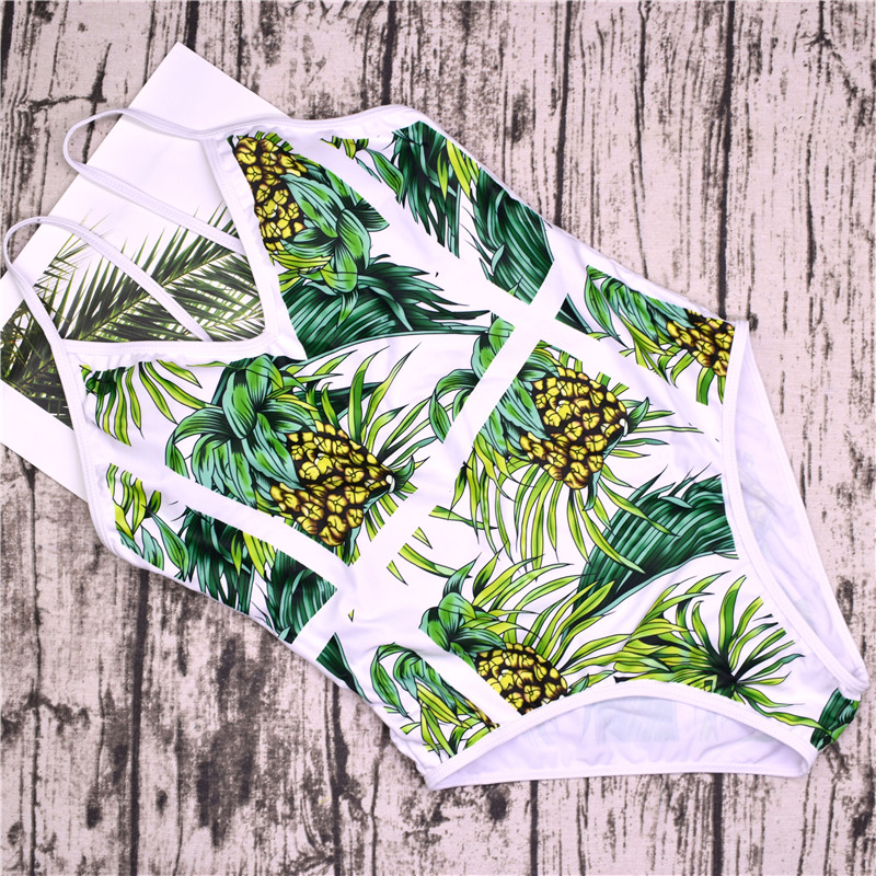 2018 New Green Leaf Swimsuit Sexy One Piece Swimwear Women Swimsuit Backless Pineapple Bathing Suit Swimming Suit Monokini 10