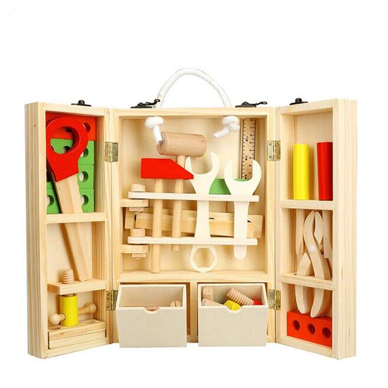 Enfants en bois écrou boîte à outils service simulation réparation outil enfants semblant jouer jouet