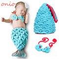 Moda Bebé Recién Nacido Foto Atrezzo Outfit Crochet Punto Mermaid Costume Girl Fotografía Prop Traje de Lana S6022