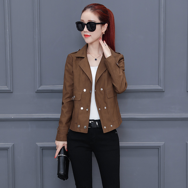 2019 New Womens Elegants Faux Leather Jackets Girls Short Korean Soft Leather Motorcycle Black Jacket Female Suede Coat Outwear in Leather Jackets from Women 39 s Clothing