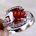 JROSE Onlylove Women Jewelry Created Garnet & White CZ Silver Plated Ring Size 10 Free Shipping Wholesale Fashion Beautiful Gift