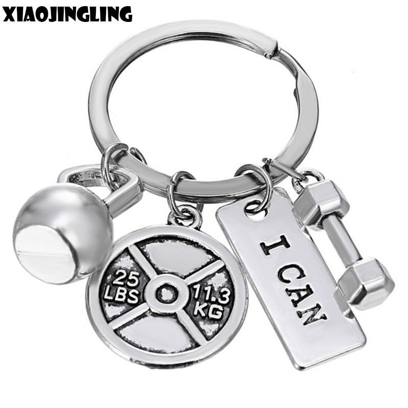 XIAOJINGLING Keyring Bodybuilding Gym Keychain I CAN Key Chain Men Women Keyfob Sports Faith Strength Boyfriend